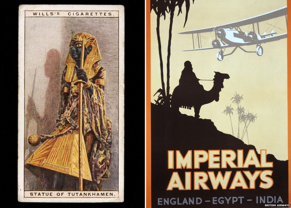 World of Wonders cigarette card (left) and poster for Imperial Airways, 1930s