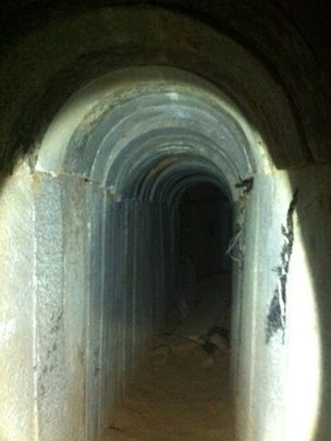 A tunnel discovered by the Israeli army in October 2013
