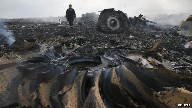Crash site of downed Malaysian Airlines plane MH17 in eastern Ukraine