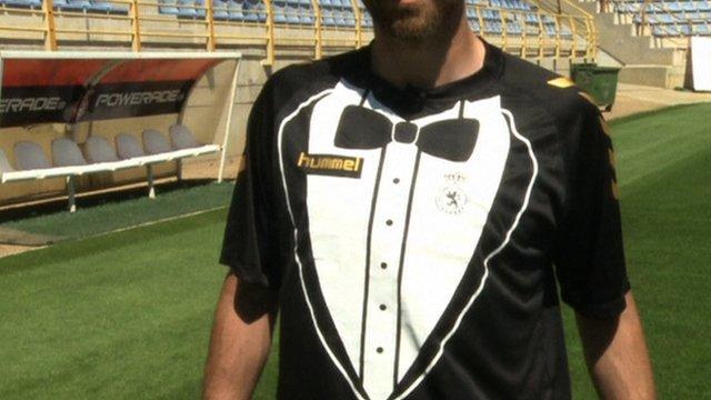 Spanish club Cultural Leonesa's new 'tuxedo' shirt