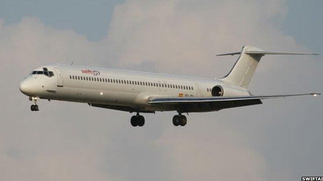 File photo: An MD83 plane belonging to Swiftair