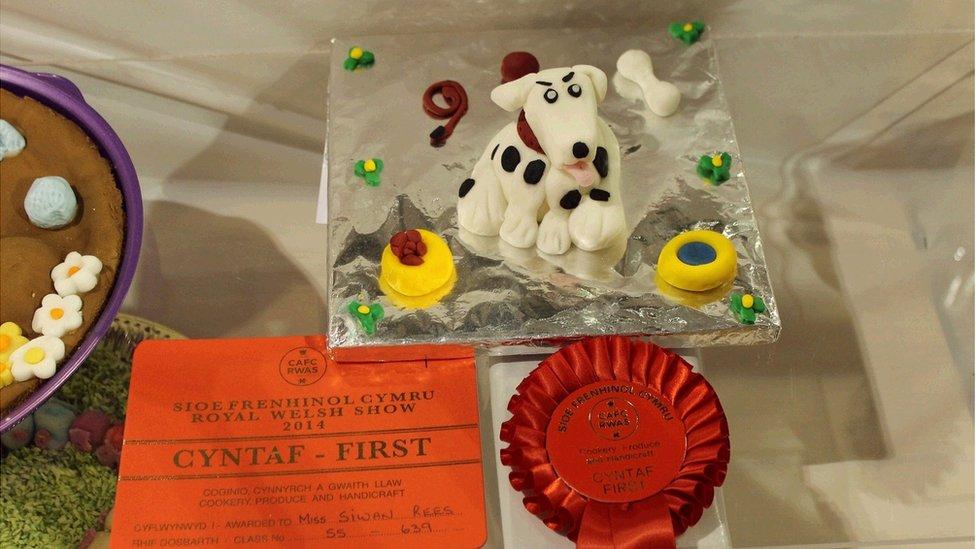 """""""Woof woof!"""" Llongyfarchiadau i Siwan Rees am wobr gyntaf yn y gystadleuaeth 'Cacen Siap Anifail'. // """"Woof woof!"""" Well done Siwan Rees for coming first in the animal shaped cake contest."""