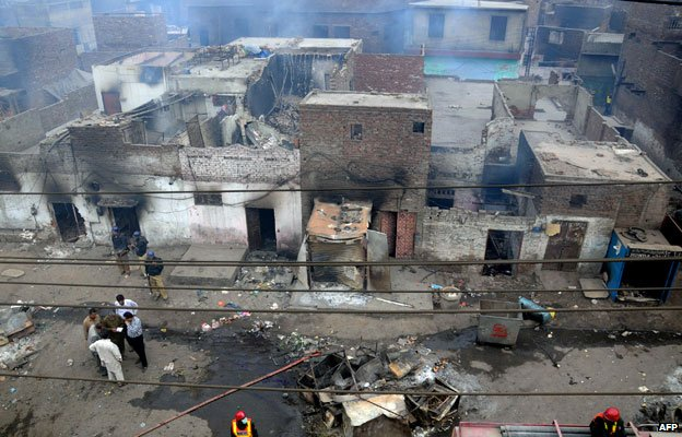 Burned Christian homes in Lahore