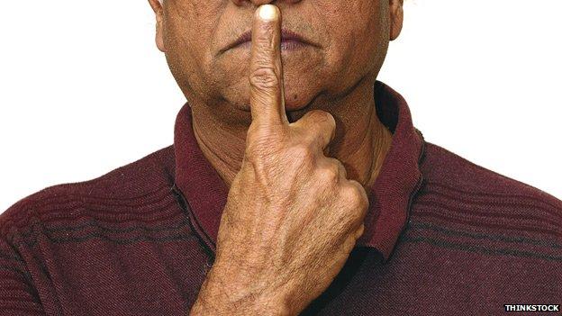 Man holding lip