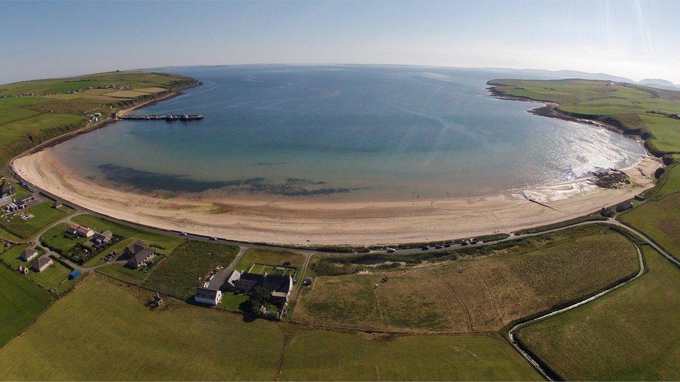 Aerial shot of Scapa beach