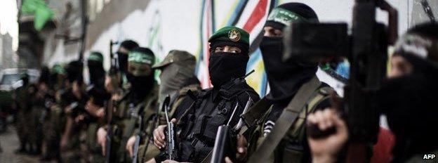 Members of Hamas's Qassam Brigades