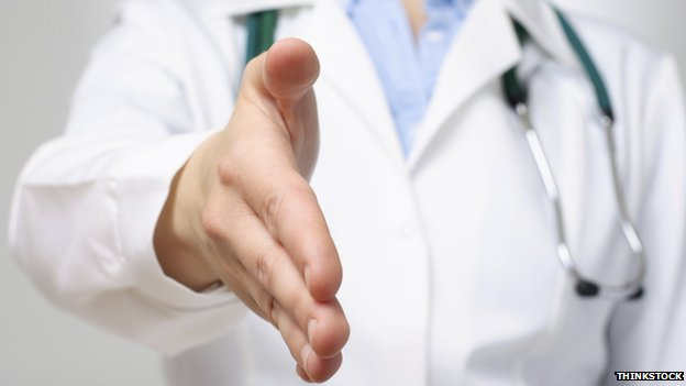 Doctor offering a hand