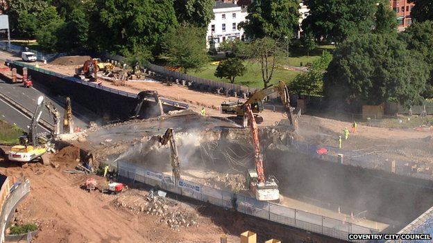 West Bridge being demolished