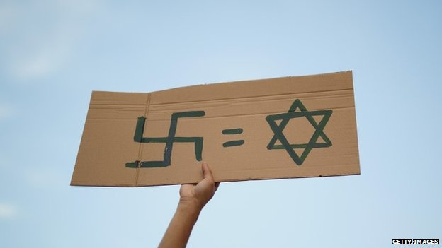 A protester holds a Nazi swastika and Star of David sign in expression of anti-Semitism in Madrid, July 2014