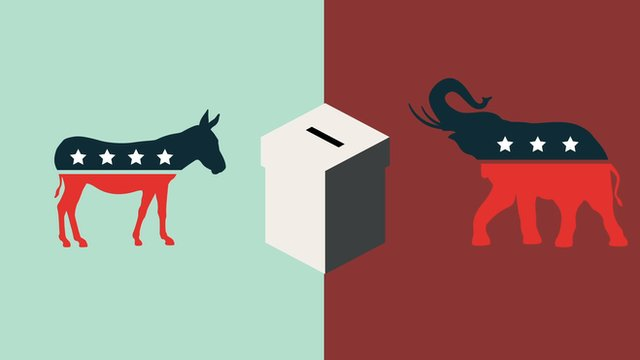 Graphic with ballot and Republican and Democratic symbols