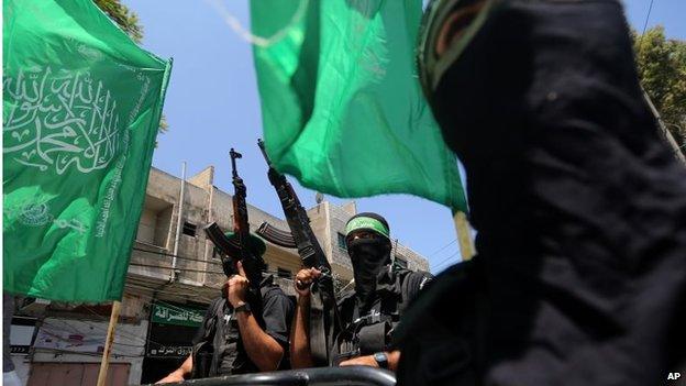 Members of Hamas' armed wing in Gaza