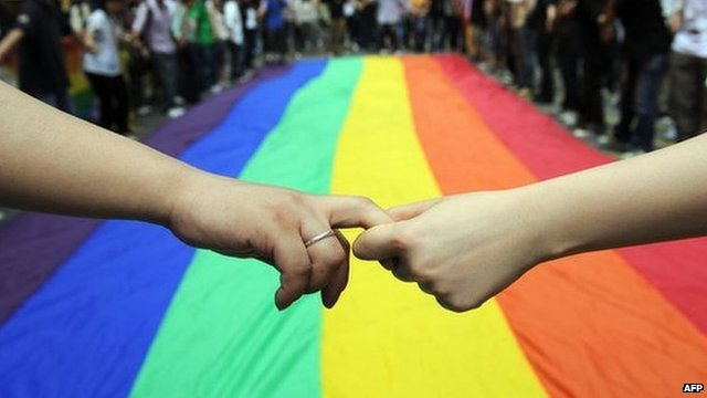 Gay and lesbian activists form a human chain around a rainbow flag during celebrations in Hong Kong on 18 May, 2012