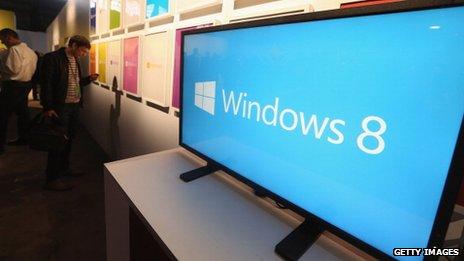 Microsoft Windows 8 on display
