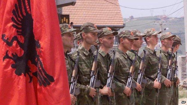 KLA fighters in Pristina, 1999