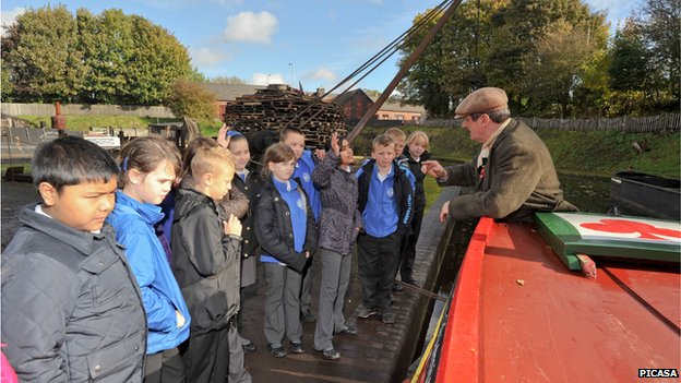 Children learning about a canal at the Black Country Living History museum