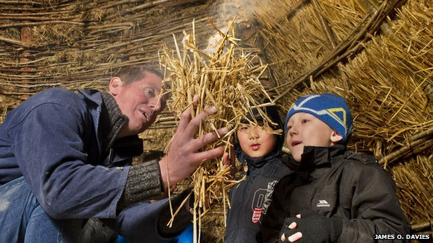 Children learning about the Neolithic age