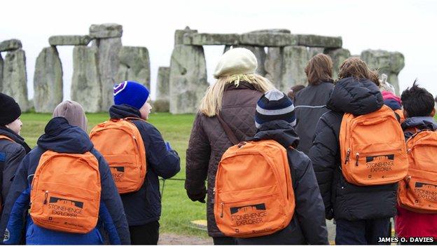 Children on a school trip to Stonehenge