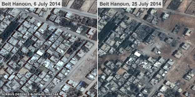 Satellite images of part of Beit Hanoun in northern Gaza taken 19 days apart show buildings destroyed and damaged
