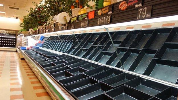 Empty shelves at Market Basket store