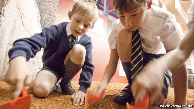 Children study archaeology