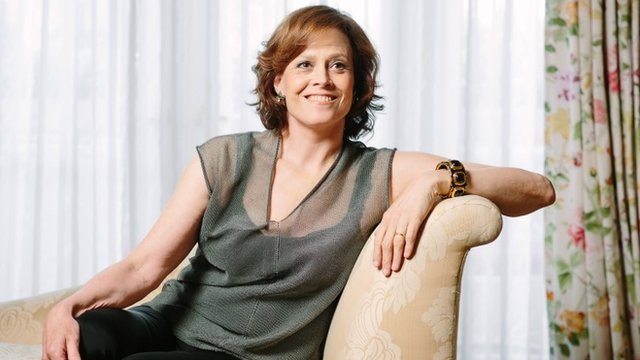Sigourney Weaver poses at The Peninsula Hotel during press day for the Alien video game and 35th anniversary release on Sunday, June 1, 2014, in Beverly Hills, Calif.