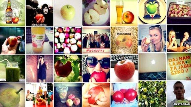 Polish people posting selfies eating apples