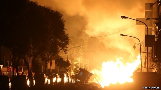 Fire bursts out during a gas explosion on 1 August 2014 in Kaohsiung, Taiwan