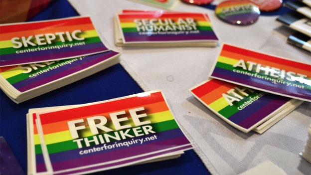 Stickers at atheism convention