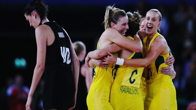 Australia celebrate after winning netball gold at the 2014 Commonwealth Games in Glasgow
