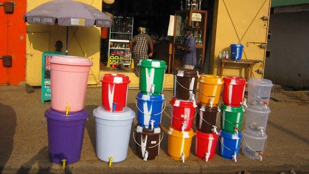 Tap buckets for sale in Monrovia, Liberia