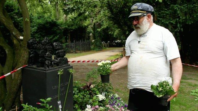 Captain Mikey Irishman at the grave for the homeless in Copenhagen