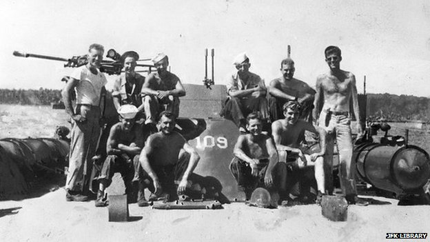 John F. Kennedy (far right) and crewmen of the PT-109