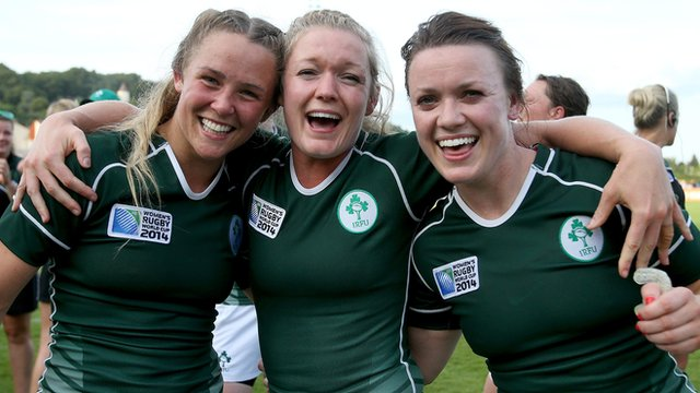 Ireland players celebrate a historic victory over New Zealand in the Women's Rugby World Cup