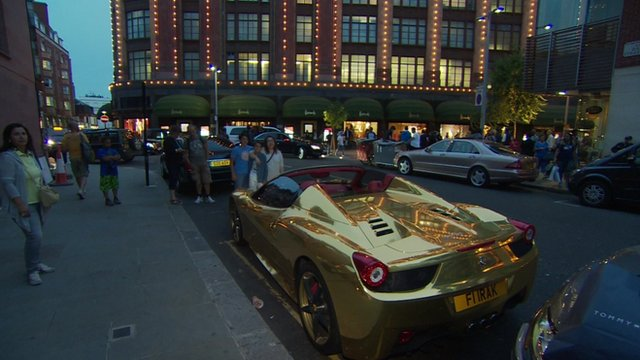 A gold Ferrari