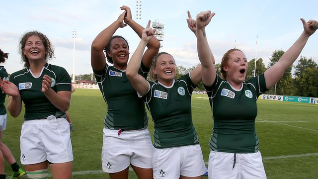 Ireland players celebrate after the victory over New Zealand