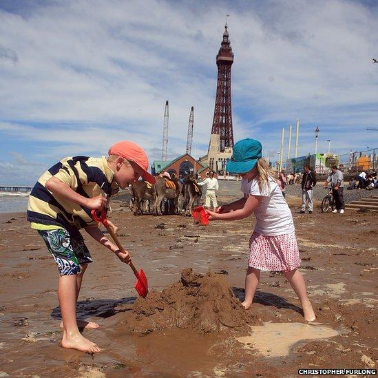 Children on Blackpool beach