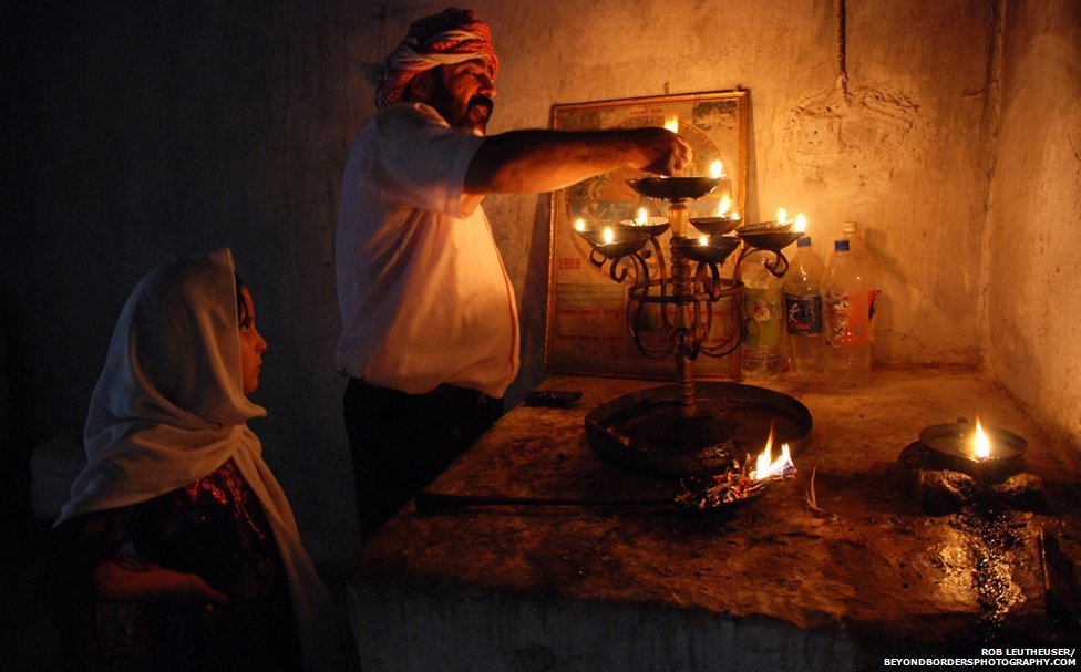 "Candle Lighting – at a home ""shrine"" in Iraqi Kurdistan"