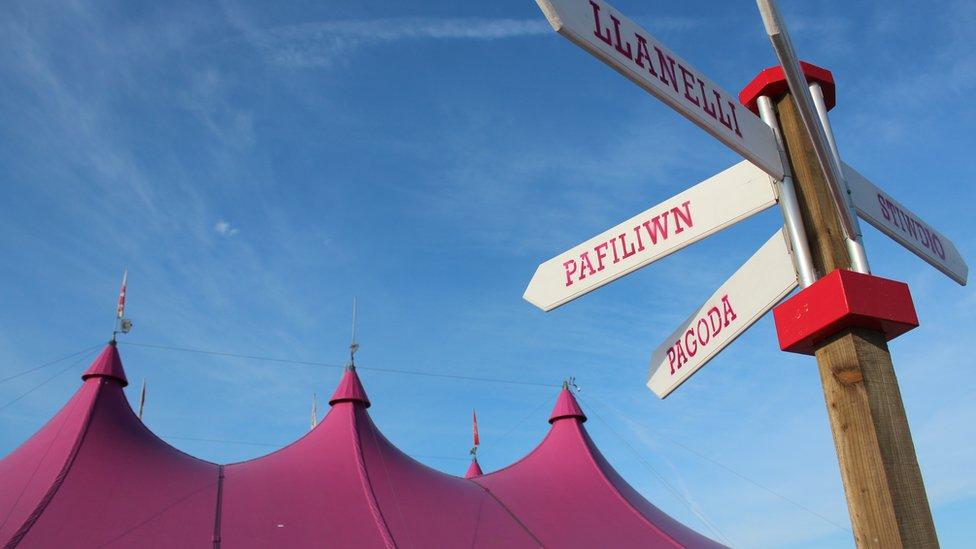 Arwydd ar faes yr Eisteddfod / Signpost