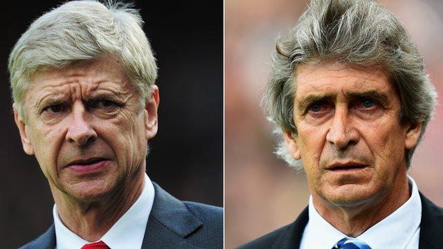 Arsenal manager Arsene Wenger and Manchester City manager Manuel Pellegrini