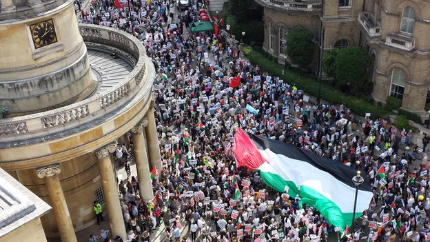 Pro-Palestine supporters in central London