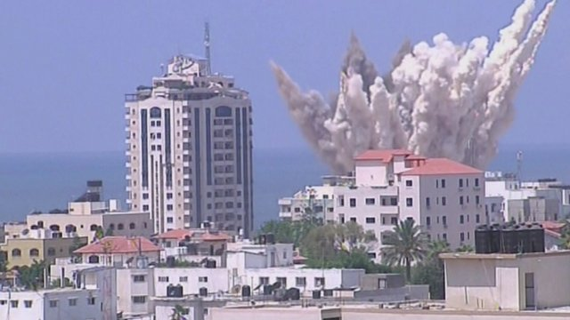 An explosion in Gaza