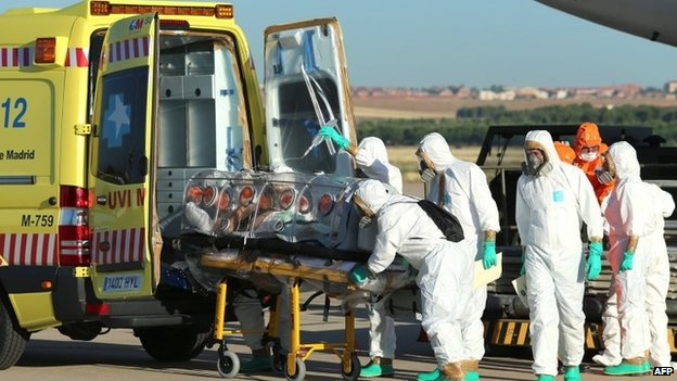 A Spanish priest was flown home for treatment (9 August 2014)