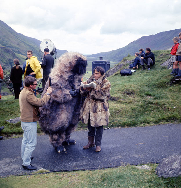 Patrick Troughton as Dr Who with Reg Whitehead as the Yeti and production crew on locatation