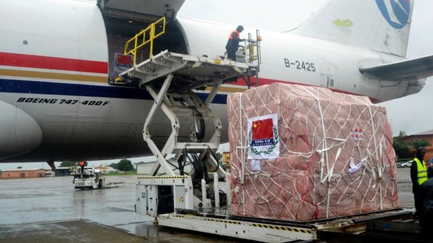 Workers unload medical supplies, coming from China and worth 4.9 million USD (around 3,7 million euro), for countries hit by the Ebola outbreak from an airplane at the Conakry airport on 11 August 2014.
