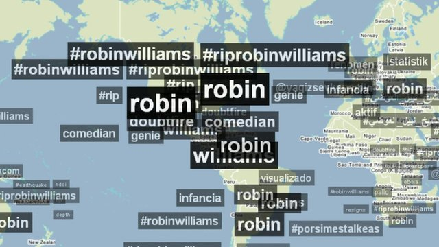 Map shows twitter hashtags for Robin Williams