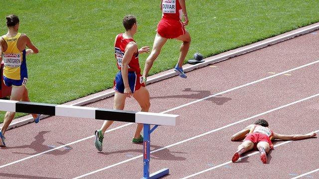 Spain's Victor Garcia falls in steeplechase