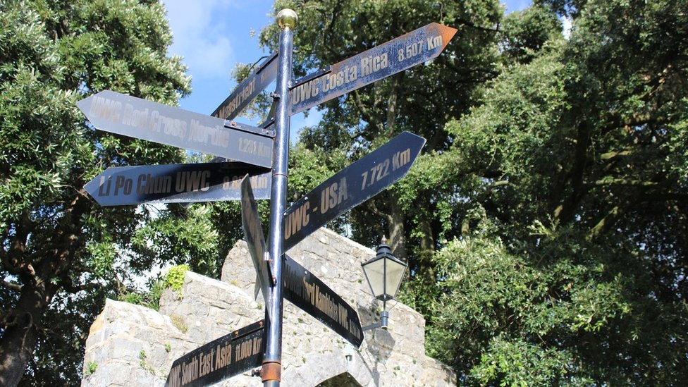 Arwydd sydd yn dangos lleoliadau a phellter colegau eraill Colegau Undebol y Byd. // A signpost showing the locations and distances of the other United World Colleges.