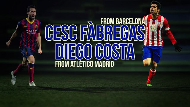 New Chelsea signings Cesc Fabregas and Diego Costa