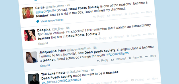Twitter reaction to Robin Williams's death