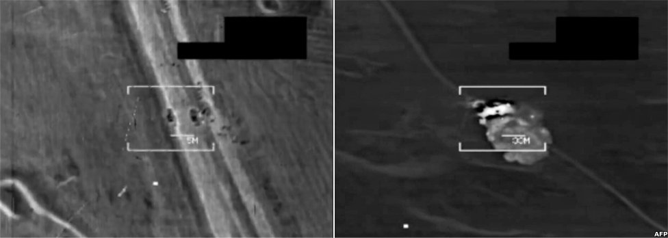 Stills from a video of a US air-strikes in northern Iraq